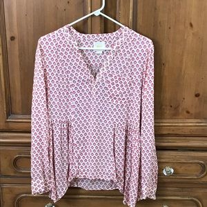 Maeve Anthropologie printout tunic Sz 6 red pink